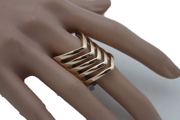 Gold Metal Elastic Band Ring Stripes Chevron Stylish Sexy New Women Fashion Jewelry Accessories