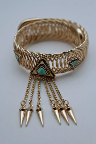 Gold Metal Ethnic High Upper Arm Cuff Bracelet Triangle Turquoise Stone Women Accessories