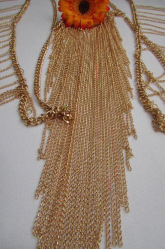 Gold Metal Full Body Chain Front Hips Side Multi Fringes Necklace New Women Fashion Accessories