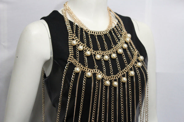 Gold Metal Full Body Chains Multi Imitation Pearl Beads Harness Dress Extra Long Necklace Accessories