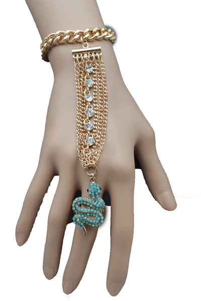Gold Metal Hand  Bracelet Slave Ring Multi Rhinestone Turquoise Snake New Women Fashion Accessories