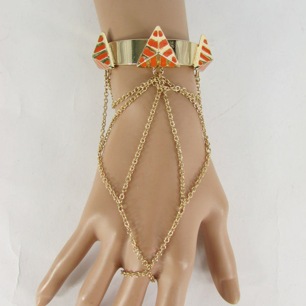 Gold Metal Hand Chain Bracelet Cuff Slave Chain Adjustable Ring Blue Turquoise Blue White Orange Pyramid New Women Fashion Style Accessories