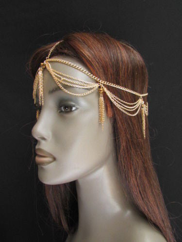 Gold Metal Head Chain Egyption Style Lightweight Beads Women Fashion Jewelry Accessories