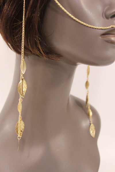 Gold Metal Head Chain Front Forehead Back Face Side Tassle Leaves Strand Women Accessories