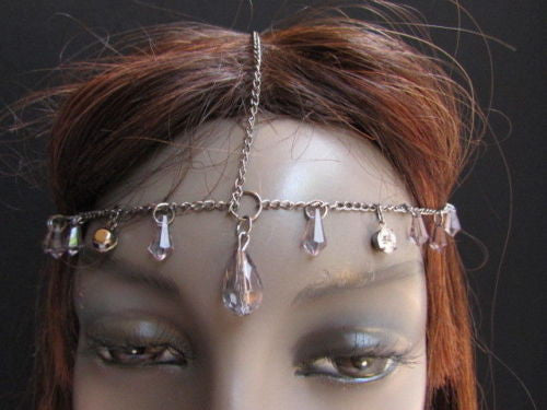 Gold Metal Head Chain Multi Fringes Clear Brown Beads Hair Piece Women Wedding Party Beach Accessories