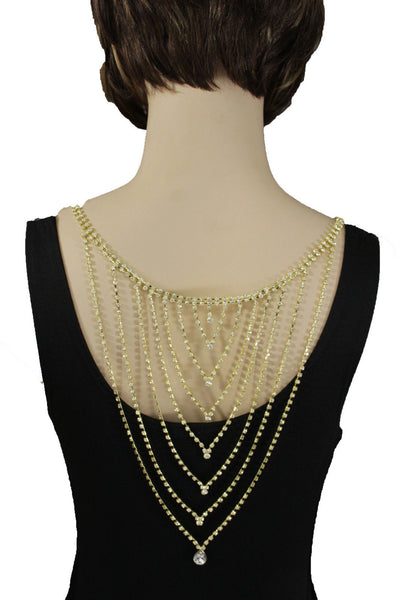 Gold Metal Hot Long Open Back Silver Rhinestones Drop Necklace New Women Fashion Wedding Jewelry Accessories