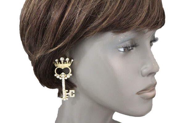 Gold Metal Key Queen Crown King Silver Beads Charm Earrings Set New Women Fashion Accessories