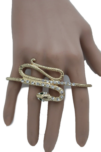 Gold Long Rhinestones Snake One Size Knuckle 4 Fingers Ring Women Jewelry Accessories