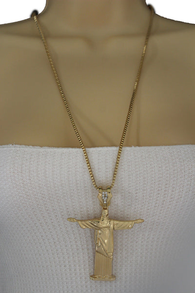 Gold Metal Long Thin Chain Large Cross Jesus Christ Redeemer Necklace New Women Fashion Accessories