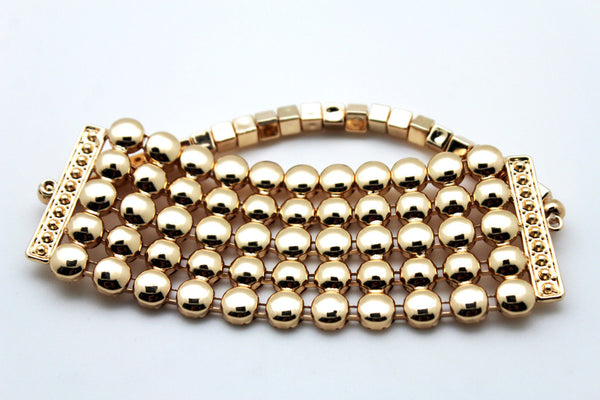 Gold Metal Multi Balls High Upper Arm Cuff Bracelet Long Elastic Wide Band Women Accessories