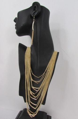 "Gold Metal Multi Chains Waves 15 Strands 22"" Long Necklace Earrings New Women Accessories"