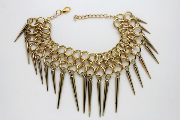 Gold Metal Multi Spikes NY Hip Hop Choker Necklace Sexy Gothic Jewelry New Women Fashion Accessories