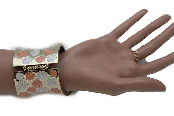 Gold Metal Plate Orange White Dots Cuff Bracelet Hand Chains Slave Ring Multi Butterfly New Women Fashion Accessories