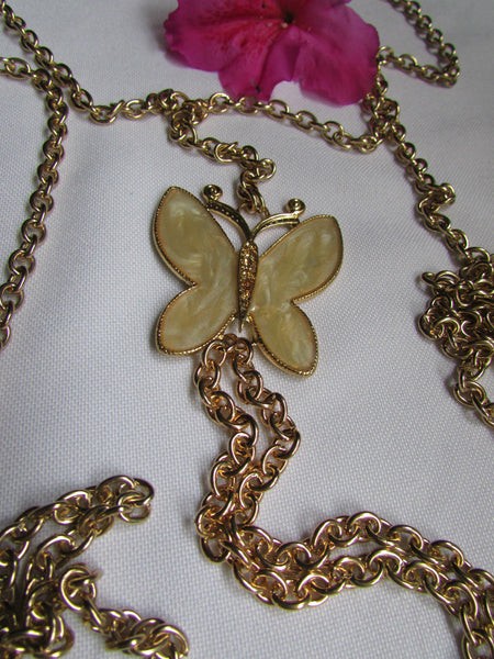 Gold Metal Sexy Body Chain Big Yellow Cute Butterfly Necklace New Women Fashion Jewelry Accessories