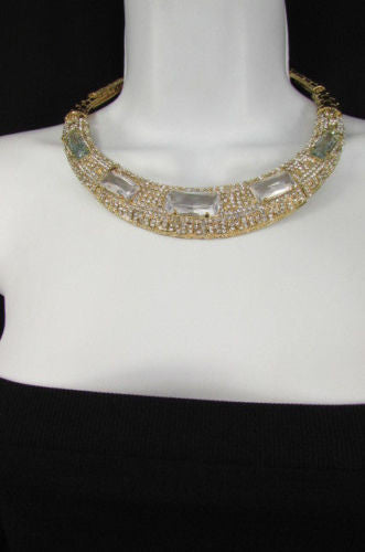 Gold Metal Short Choker Necklace Big Multi Rhinestones Earring Set New Women Fashion Accessories