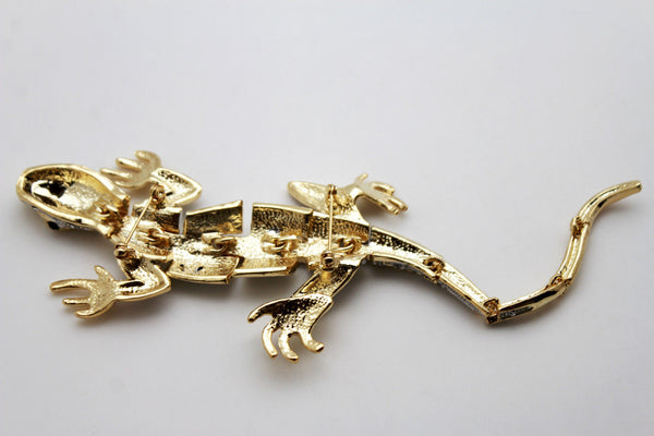 Gold Metal Shoulder One Side Broach Lizard Gecko Pin Clear Rhinestones Beads New Women Fashion Jewelry Accessories