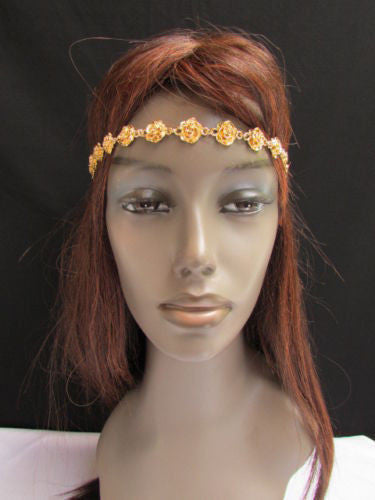 Gold Metal Elastic Head Chain Multi Flowers Leaves New Women Fashion Hair Accessories