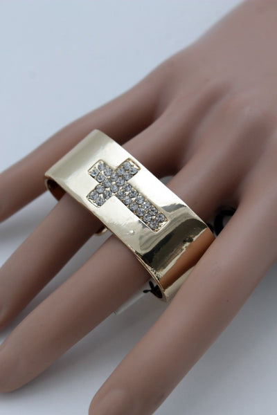 Gold Metal Wide Band 2 Finger Religious Cross Bling Ring New Women Trendy Fashion Accessories