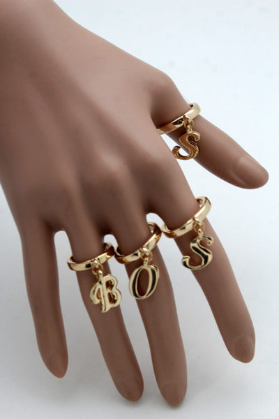 Gold Metal Wide Band 4 Fingers Rings Set BOSS New Women Trendy Fashion Jewelry Accessories