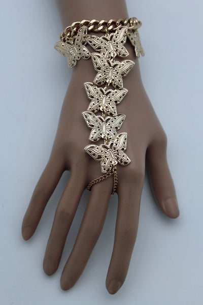 Gold Metal Wrist Bracelet Hand Chains Slave Ring Long Finger Multi Cute Butterfly New Women Fashion Accessories