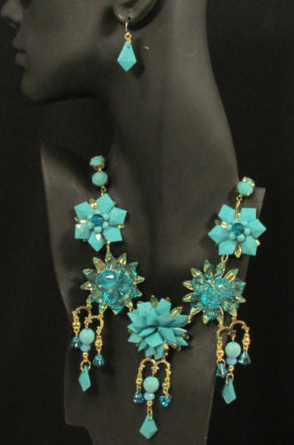 Gold Metals Chains White Or Aqua Blue Multi Trendy Beads Flowers Bib Necklace