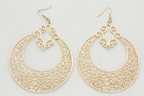 Gold New Women Big Round Metal Bling Ethnic Style Fashion Earrings Set