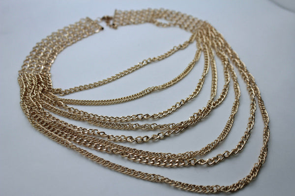 Gold Silver Metal Multi Chain Links 8 Strands Necklace Earrings Set Women Jewelry Accessories