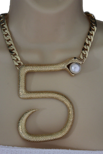 Gold Or Silver Thick Metal Chains Big 5 Five Snake Short Necklace New Women Fashion Jewelry Accessories