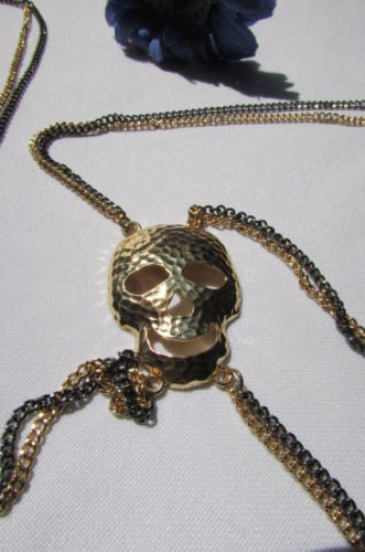 Gold Pewter Metal Body Chain Big Skull Pendant NYC Trendy New Women Fashion Accessories