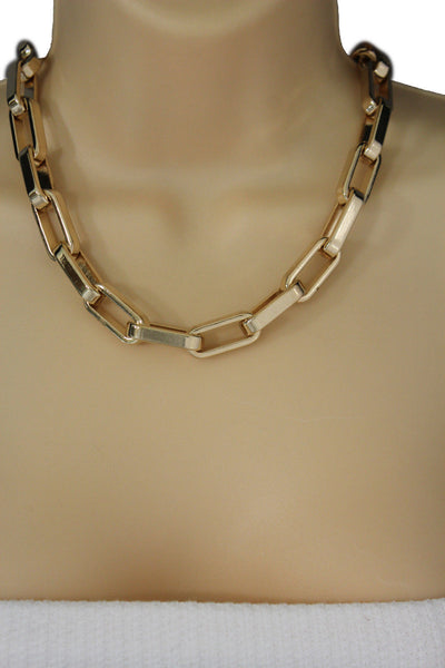 Gold Plastic Chain Square Links light weight Short Necklace New Women Fashion Jewelry Accessories