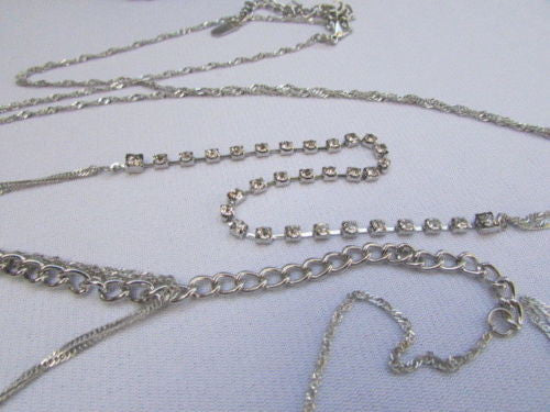Gold Silver Belt Body Chain White Single Strand Rhinestones Long Necklace New Women Accessories
