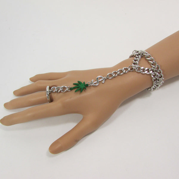 Gold Silver Black Metal Hand Chain Bracelet Slave Ring Connected Green Marihuana Leaves New Women Trendy Fashion Accessories