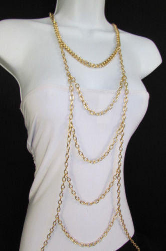 Gold Body Chain Multi Waves Full Frontal Long Necklace New Women Trendy Accessories