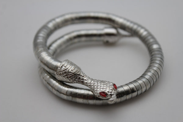 Gold Silver Cobra Snake Red Eyes Bracelet High Arm Cuff Bangle New Women Fashion Accessories