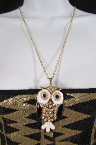 Gold Silver Extra Long Chain Big Owl Bird Rhinestones Necklace New Women Fashion Accessories