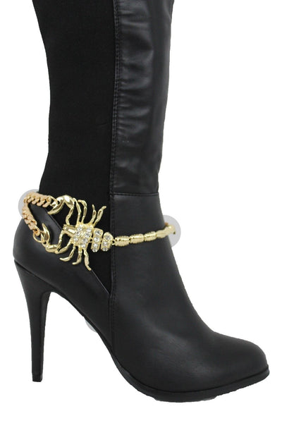 Gold Silver Copper Metal Chain Bling Boot Bracelet Shoe Animal Charm Scorpion Women Accessories
