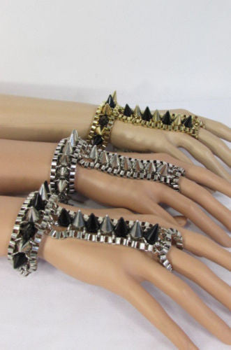 Gold Silver Meatl Hand Links Chain Bracelet Slave Wrist Ring Connected Multi Spikes New Women Trendy Fashion Accessories