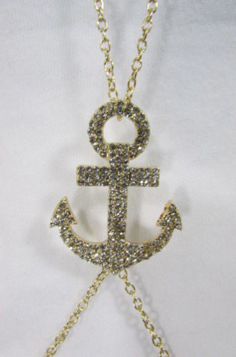 Gold Silver Metal Body Chain Sailor Anchor Pendant Necklace New Women Jewelry Accessories