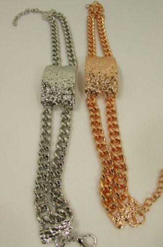 Metal Casual Chunky Chains Big Plate Pendant Wide Choker Necklace Women Accessories