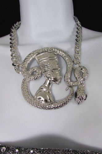 Gold Silver Metal Chain Big Egyptian Queen Snake Pendant Necklace New Women Fashion Accessories