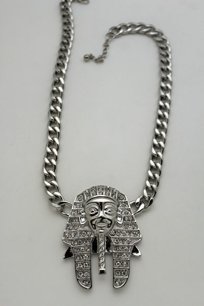 Gold Silver Metal Chain Egyptian Pharaoh Pendant Silver Rhinestones Bead Necklace Women Accessories