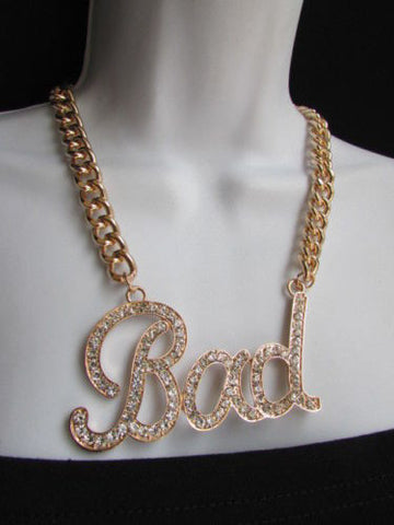 Gold Silver Metal Chains BAD Phrase Pendant Ubran Hip Hop Necklace New Women Fashion Accessories