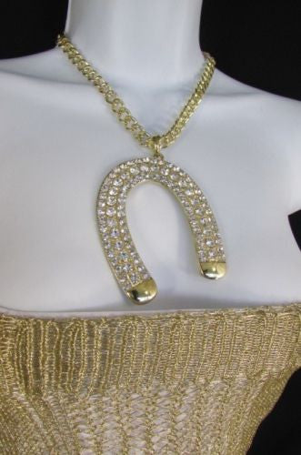 Gold Silver Metal Chains Big Horse Shoe Multi Rhinestones Pendant New Necklace Women Accessories