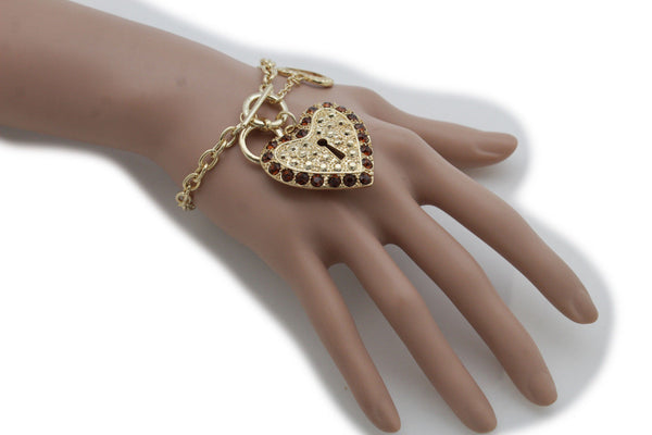 Gold Silver Metal Chains Bracelet Heart Charm Lock Key Love Brown Clear Beads Women Accessories