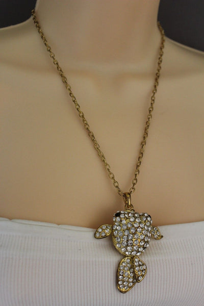 Gold Silver Metal Chains Fish Pendant Charm Rhinestones Long Necklace New Women Accessories
