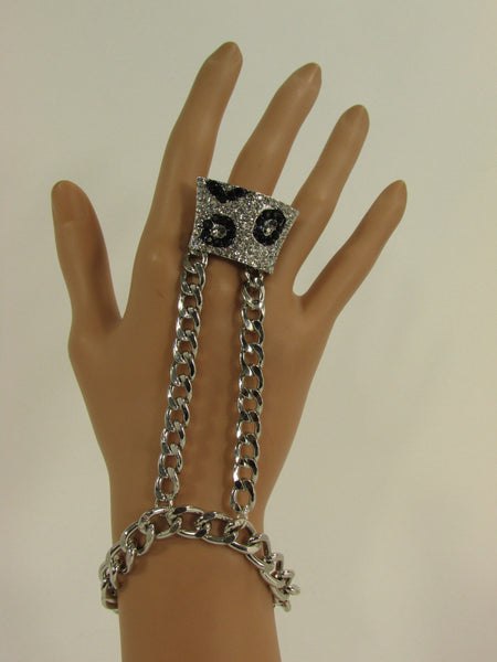 Gold Metal Chains Hand Chain Bracelet Slave Ring Bling Big Leopard Rhinestones Women Accessories