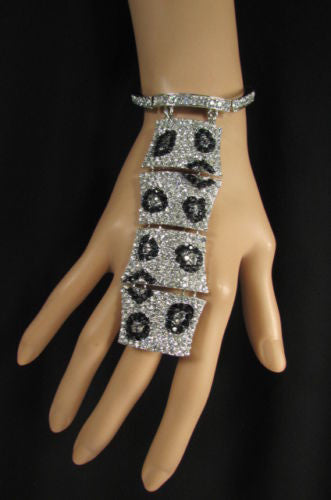 Gold Silver Metal Chains Hand Bracelet Slave Ring Big Leopard Black Rhinestones Women Accessories
