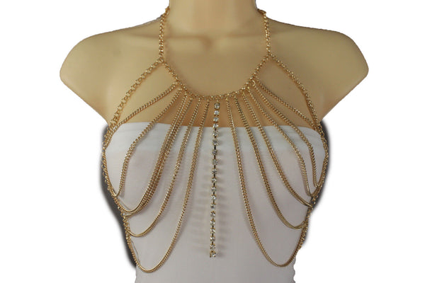 Gold Silver Metal Chains Top Body Bra Multi Rhinestones Long Necklace Women Fashion Jewelry Accessories
