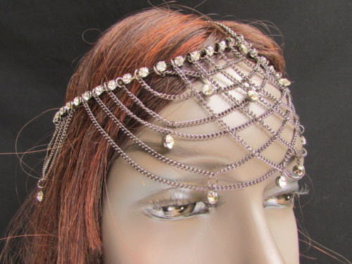 Gold Silver Metal Forehead Head Chain Rhinestones Multi Waves Women Fashion Hair Accessories