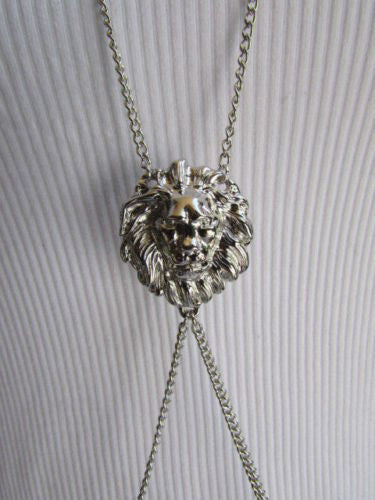 Gold Silver Metal Full Body Chain Face Front Head Lion Women Fashion Trendy Necklace Accessories